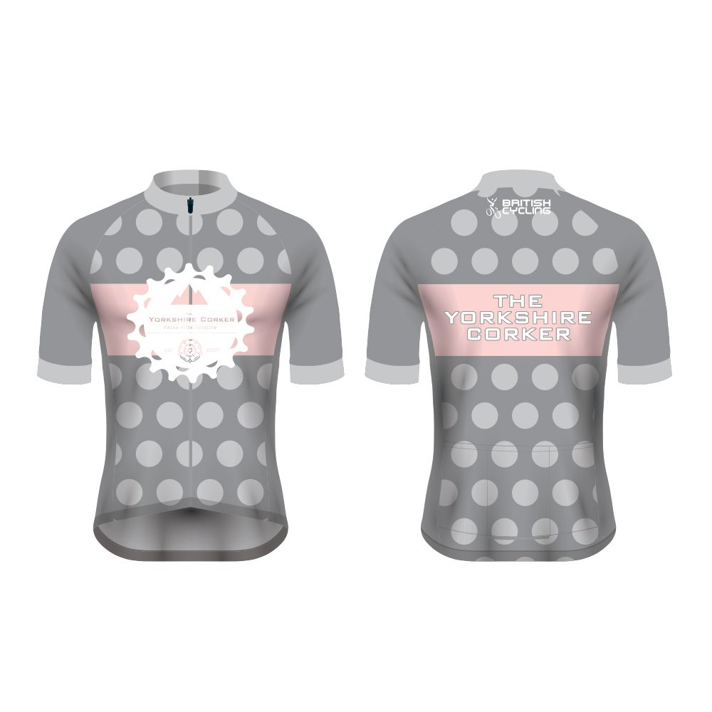 Yorkshire Corker Womens Club Cut Short Sleeve Cycling Jersey Grey Cycle Clothing