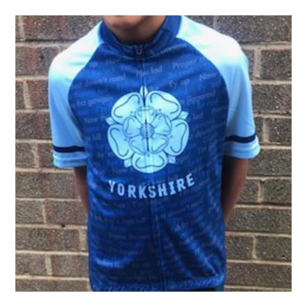 Yorkshire Dialect Kids Blue Short Sleeve Cycling Jersey