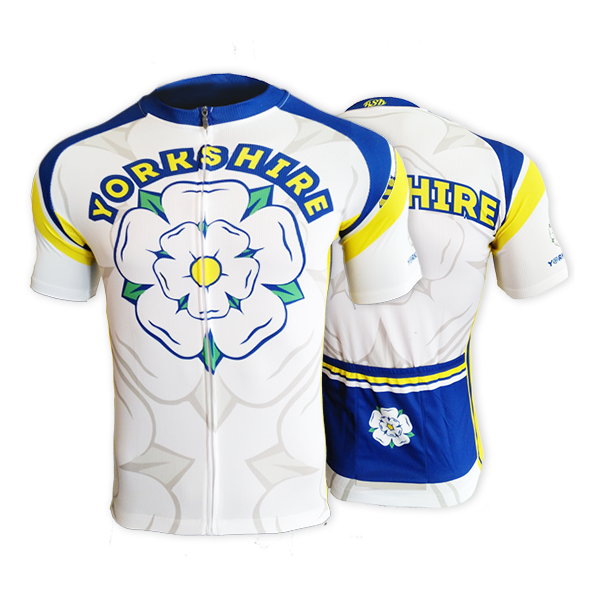 Yorkshire Mens Short Sleeve Cycling Jersey (White)
