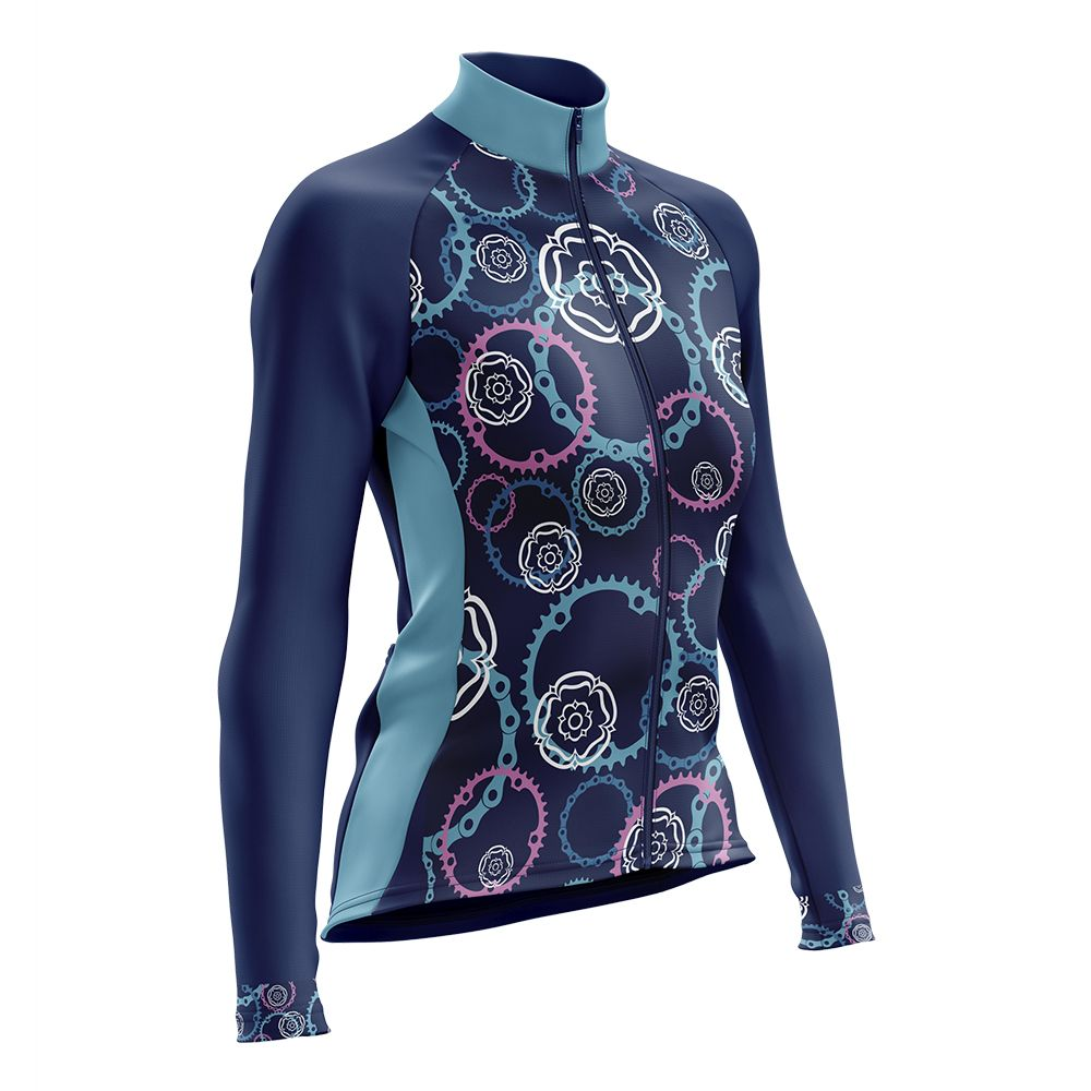 Yorkshire Cogs and Roses CC Womens Long Sleeve Cycling Jersey Fleece Lined
